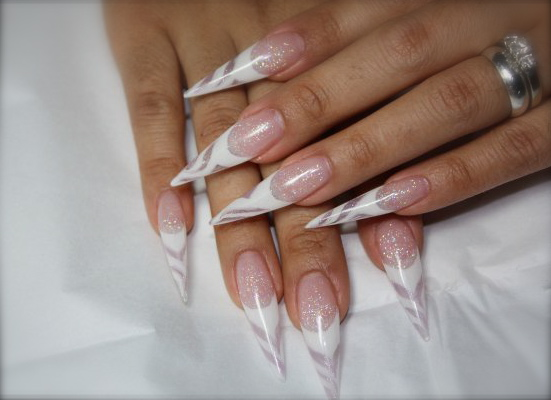 white pointed nails