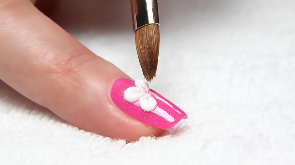 painted flower on nail